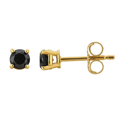 1.00 ct. t.w. Black Diamond Studs in 14k Yellow Gold