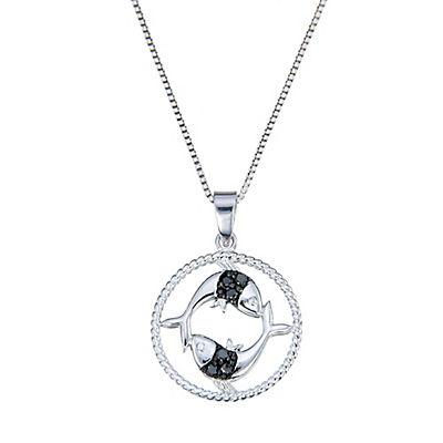 .11 ct. t.w. Black Diamond Zodiac Pendant Necklace in Sterling Silver - Pisces