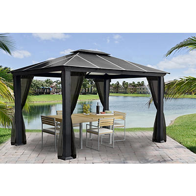 "Paragon Outdoor Santa Ana 11"" x 13"" Gazebo with Mosquito Net"