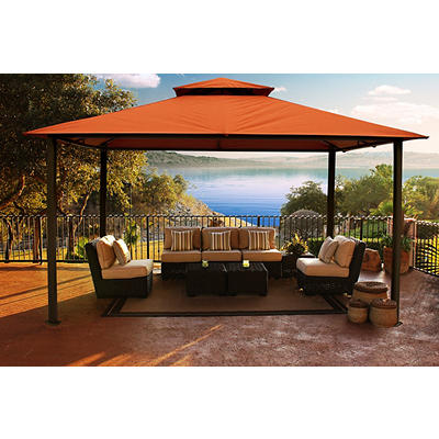 Paragon Outdoor Avalon 11' x 14' Gazebo with Sunbrella Canopy - Rust