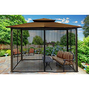 Paragon Outdoor Kona 10' x 12' Gazebo with Mosquito Netting - Cocoa
