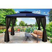 Paragon Outdoor Kona 10' x 12' Gazebo with Mosquito Netting - Navy