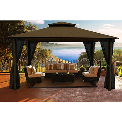 "Paragon Outdoor Austin 11"" x 14"" Gazebo with Mosquito Netting - Cocoa"