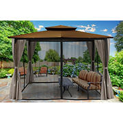 Paragon Outdoor Lima 10' x 12' Gazebo with Mosquito Netting and Curtain - Cocoa