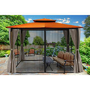 Paragon Outdoor Lima 10' x 12' Gazebo with Mosquito Netting and Curtain - Rust