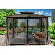Paragon Outdoor Lima 10' x 12' Gazebo with Mosquito Netting and Curtain - Gray