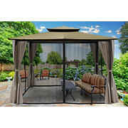 Paragon Outdoor Lima 10' x 12' Gazebo with Mosquito Netting and Curtain - Sand