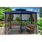 Paragon Outdoor Lima 10' x 12' Gazebo with Mosquito Netting and Curtain - Navy