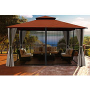 Paragon Outdoor Santa Barbara 11' x 14' Gazebo with Sunbrella Canopy, Mosquito Net and Privacy Curtains - Rust