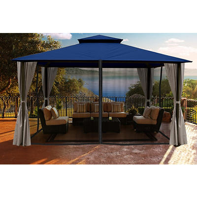 Paragon Outdoor Lizbon 11' x 14' Gazebo with Mosquito Net and Privacy