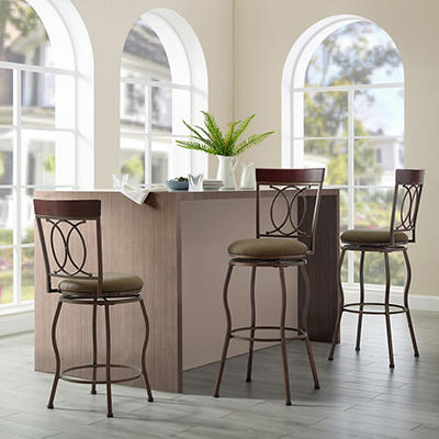 Barstools with Adjustable Height, 3 pk. - Brown