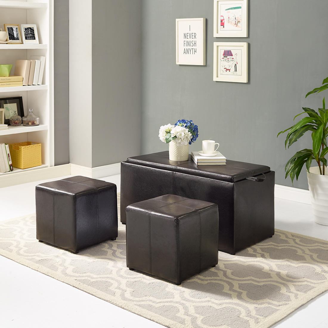 Tremendous 3 Pc Ottoman Set Gmtry Best Dining Table And Chair Ideas Images Gmtryco