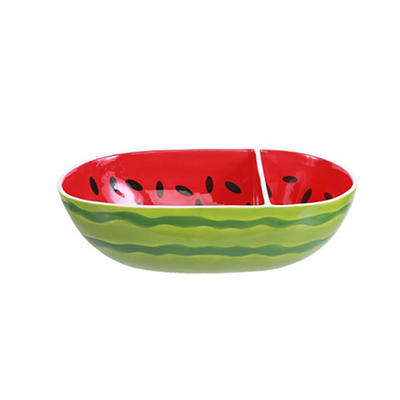 Four Corners Watermelon 2-Section Chip and Dip Bowl