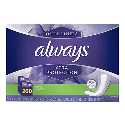 Always Xtra Protection Pantiliners, 200 ct.