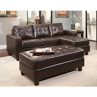 Abbyson Living Taylor Reversible Sectional and Ottoman - Espresso Brow