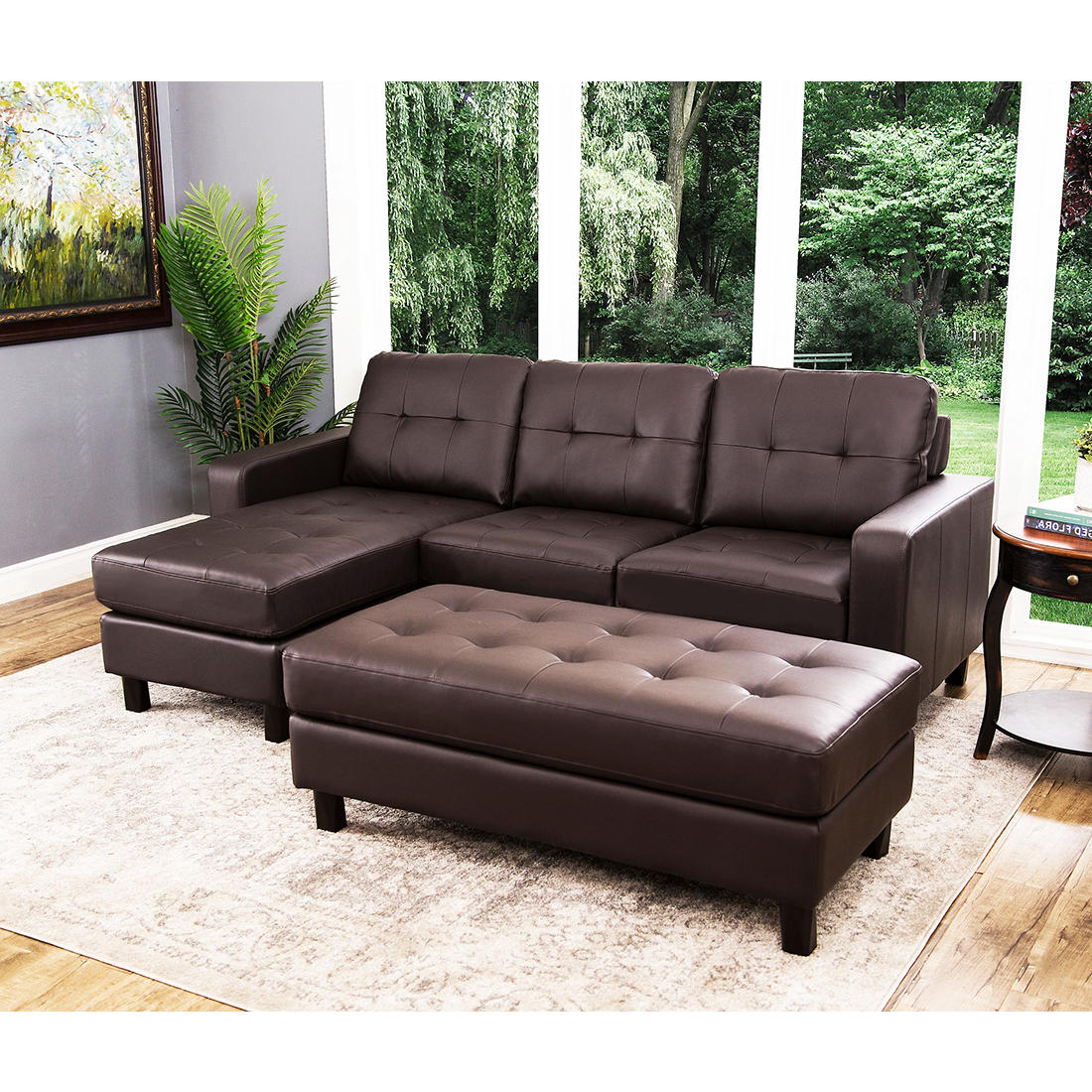 Admirable Abbyson Living Taylor Reversible Sectional And Ottoman Espresso Brown Ncnpc Chair Design For Home Ncnpcorg