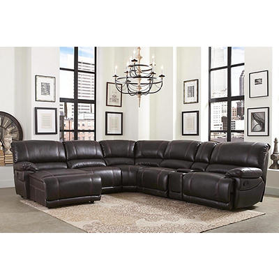 Abbyson Living Jameson 6-Pc. Leather Sectional - Dark Brown