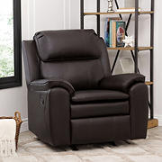 Abbyson Living Canyon Leather Rocker Recliner - Dark Brown