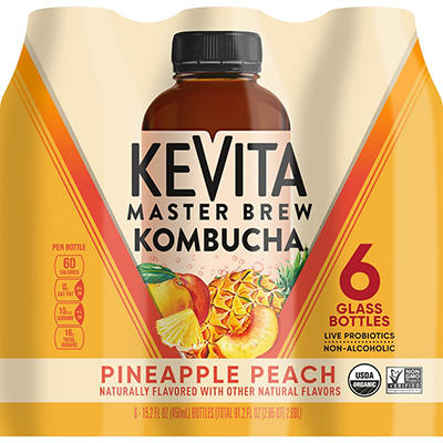 KeVita Pineapple Peach Master Brew Kombucha Non-Alcoholic Drink, 6 pk.