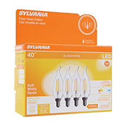 Sylvania 40W Equivalent Replacement Decor Chandelier Filament LED Light Bulbs, 4 pk. - Soft White