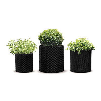 Keter 3-Pc. Rattan Cylinder Planters Set - Anthracite