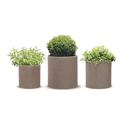 Keter 3-Pc. Rattan Cylinder Planter Set - Beige
