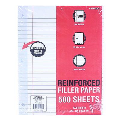 Unison Reinforced Filler Paper, Wide Ruled, 500 Sheets