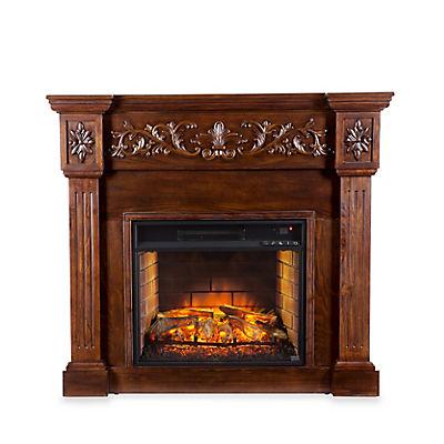 SEI Revere Carved Electric Fireplace - Espresso