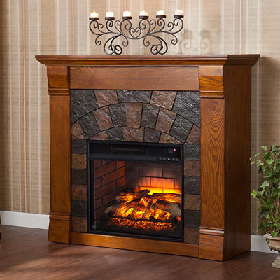 SEI Winter Haven Electric Fireplace - Antique Oak
