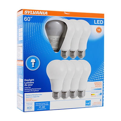 Sylvania 60W Equivalent LED A19 Bulbs, 8 pk. - Daylight