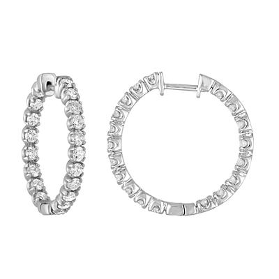 Amairah 3.40 ct. t.w. Diamond Hoop Earrings in 14k White Gold