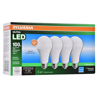 Sylvania 100W Equivalent Ultra LED A19 Bulbs, 4 pk. - Daylight