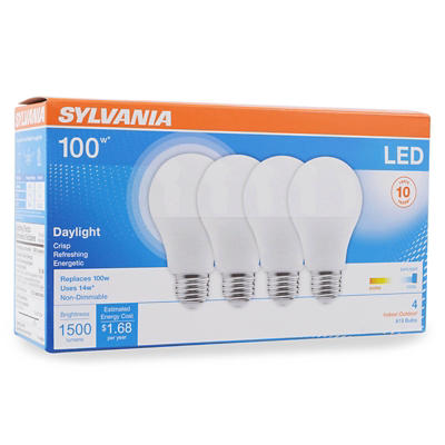 Sylvania 100W Equivalent LED A19 Light Bulbs, 4 pk. - Daylight