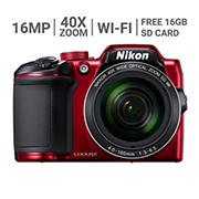 Nikon COOLPIX B500 16MP CMOS 40x Wi-Fi Digital Camera with Case and 16GB SD Card - Red