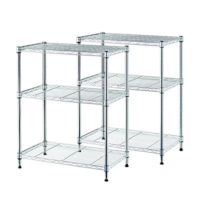 Home Storage Space 3-Shelf Wire Racks, 2 pk. - Chrome