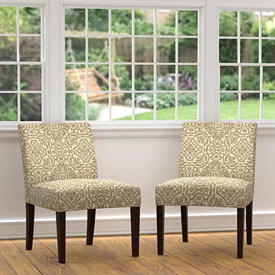 Handy Living Nate Slipper Chairs, 2 pk. - Damask Barley Gray