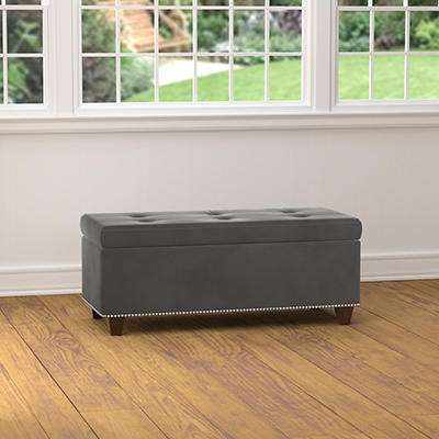 "Handy Living 40"" Storage Ottoman Bench - Gray Velvet"