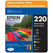 Epson T220 Series Multi-Color Combo Ink Pack, 5 ct.