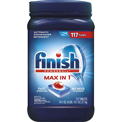 Finish Powerball Max-in-1 Automatic Dishwasher Detergent Tablets, 117