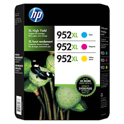 HP 952XL High-Yield Color Ink Cartridges, 3 pk.