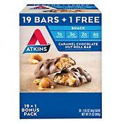 Atkins Caramel Chocolate Nut Roll Bar, 19 ct. with 1 Bonus/1.55 oz.
