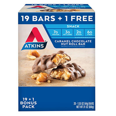 Atkins Caramel Chocolate Nut Roll Bar, 19 ct. with 1 Bonus/1.55 oz.