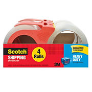 Scotch Heavy Duty Shipping Packaging Tape with Dispenser, 4 Rolls