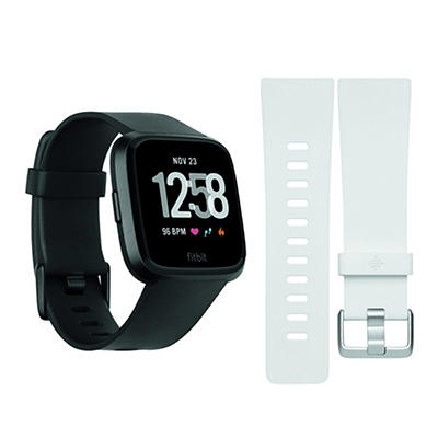 Fitbit Versa Activity Tracker with Bonus Large Band - Black and White