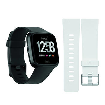 f62977ad4639 Fitbit Versa Activity Tracker with Bonus Large Band - Black and White