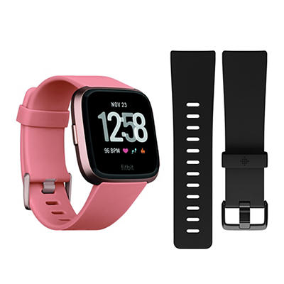 Fitbit Versa Activity Tracker with Bonus Small Band - Rose Gold and Bl