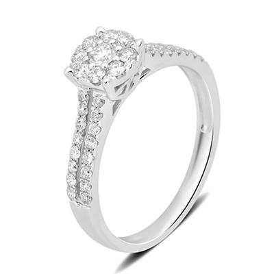 .50 ct. t.w. Round Engagement Ring in 14K White Gold, Size 6