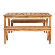 W. Trends 3-Pc. Acacia Wood Outdoor Dining Set - Brown