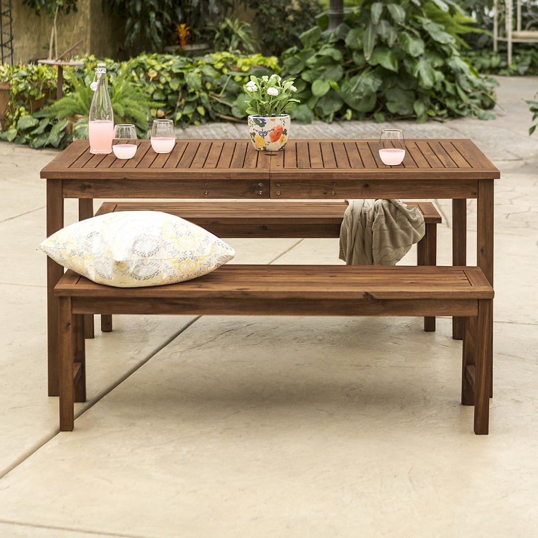 W. Trends 3 Pc. Acacia Wood Outdoor Dining Set   Dark Brown