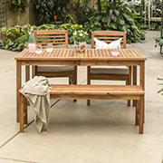 W. Trends 4-pc Outdoor Cliff Acacia Wood Dining Set - Brown